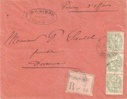 Recommandé OPR Divonne 1902 Blanc - Marcophilie (Lettres)