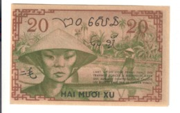 French Indo-China Pick#86d 20 Cents 20 Xu 1939  RARE  AU-UNC Lotto.2915 - Indocina