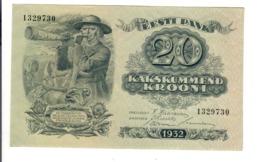 Estonia Estonian Eesti  20 Krooni 1932 Pick#64 AU Lotto.2902 - Estonia