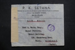 IRAQ - Enveloppe Commerciale De Baghdad Pour Bombay En 1945, Affranchissement Plaisant Au Verso + Contrôle  - L 42766 - Iraq