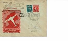 """AEROPOSTALE.EXPO PHILATELIQUE """"PRISONNIER"""" FEV 1946, PARIS ALGER - Brieven En Documenten"""