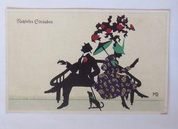 """Scherenschnitt, Männer, Frauen, Dackel"" 1920, Sig.MG♥ (8871) - Künstlerkarten"