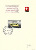 Schweiz Suisse 1952:: PTT-Folder Mit Zu 210 Mi 311 Yv 302 O 3e Rallye National Des Campeurs Du TCS Planeyse-Colombier - Busses