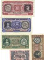 Bulgaria 20+200+250+500+1000 Leva, 1943 Pick#63-67 Sup AU Lotto.2903 - Bulgarien