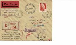 AEROPOSTALE.1 ER SERVICE DIRECT PARIS GLASGOW , 19 JUIN 1946 - Brieven En Documenten