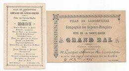 CARTON D'INVITATION BAL+ MENU 1895 -- Compagnie Des Sapeurs-Pompiers De Largentiére - Fête De La Sainte-Barbe - POMPIERS - Largentiere