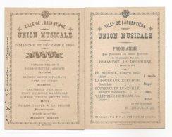 CARTONS - VILLE DE LARGENTIERE Sur La Place Des Recollets - UNION MUSICALE 1895 - Programme Et Menu - MUSIQUE - Largentiere
