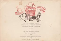 MULHOUSE : Hotel-restaurant Guillaume Tell : 30é Anniversaire De La Mutuelle De La Ville De Mulhouse -  Format 32 X 24cm - Menus