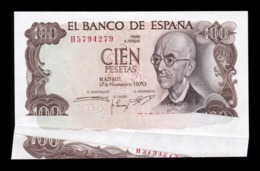 España Spain Error 100 Pesetas 1970 Pick 152 Fuelle SC UNC - [ 3] 1936-1975 : Regime Di Franco