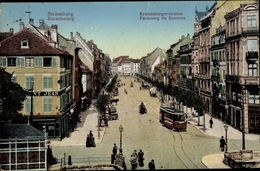 Cp Strasbourg Straßburg Elsass Bas Rhin, Kronenburger Straße, Faubourg De Saverne, Tramway - France