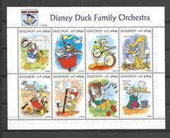 Disney Maldives 1995 Disney Duck Family Orchestra Sheetlet MNH - Disney