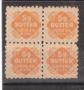 Vignette Alimentation / Rationnement Guerre 1939-1945, Allemagne  Bloc De 4, 5 G BUTTER / Beurre, Gültig 6.2.1944, TB - Militaria
