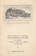 Diner Donné En L'honneur Des Restaurateurs Du Haut-rhin - Suite à L'expositon Culinaire De Mulhouse ( 18cm X 11,5cm ) - Menus