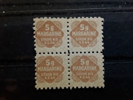 III E Reich /  Deutschland, BLOC DE 4 Vignette Rationnement  MARGARINE  5 G Bistre  , Gültig Bis 6.2. 1944 ,TB - Militaria