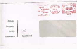 """LAUSANNE18 - EMA 17/01/1964 Editions Rencontre """"Meubler Sa Bibliothèque C'est Meubler Son Esprit"""" Culture-livres     881 - Marcophilie"""