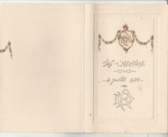 Drome : TAIN-L'HERMITAGE : 4 Juillet 1922 - à Volet ( Format - 18,5cm X 12cm ) - Menus