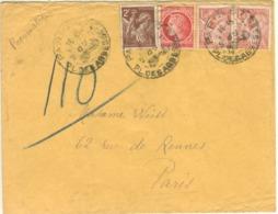 2F IRIS 1F MAZELIN 2X1.50F IRIS TARIF 6F PNEUMATIQUE 9/07/45 - Marcophilie (Lettres)