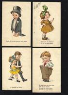 4 X Postais COMICOS C/ Legenda Em Português. Set Of 4 Vintage COMIC Postcards PORTUGAL 1920s - Portugal