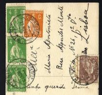 1923 Postal Circulado Com 5 Selos CERES, Enviado De CINTRA Para LISBOA. Portugal - Oblitérés