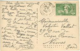40C + 10C SURTAXE BERLIOZ TARIF CARTE POSTALE + DE 5 MOTS 25/../37 - Marcophilie (Lettres)
