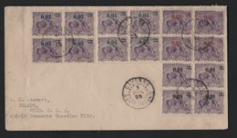 NC14 Guyane Française Enveloppe Avec 4 Blocs De Timbres Différents  Fourmilier Surchargé 1925 Cachet De Cayenne - Guyane Française (1886-1949)