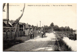 Pagny La Ville Vue Sur La Saone Et L Usine - France