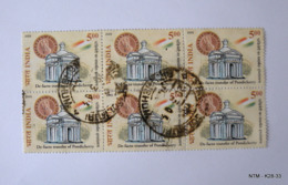 INDIA 2005, 50th Anniversary Of De Facto Transfer Of Pondicherry By The French To India. SG2304. Block Of 6 Used Stamps. - India