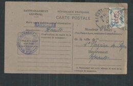 Timbre De Service No15a Ravitaillement Général Sur Carte De Marseillan (Hérault) - Lettres & Documents