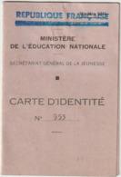 Gard/Provence 1944 Carte Identité Ministère Education Nationale Et Jeunesse - Documents Historiques