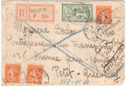 ROUEN Seine Inférieure Lettre Recommandée RETOUR ENVOYEUR 7361 Caudebec Les Elbeuf 45c Merson 5c Semeuse Yv 145 158 - Storia Postale