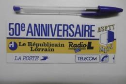 Autocollant Stickers Médias RADIO L Le Républicain Lorrain LA POSTE TELECOM Pour 50è Anniversaire ASPTT METZ - Autocollants