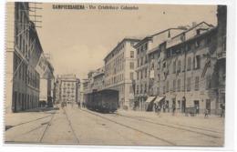 CARD SAMPIERDARENA VIA CRISTOFORO COLOMBO VAGONI TRENI MERCI SULLA VIA  BANDIERA REALE-(GENOVA) -FP-N-2-0882-29075 - Genova (Genoa)