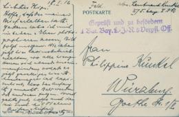 1916 , WWI , T.P. CIRCULADA , FELDPOST - VAUCOURT , GEPRÜFT UND ZU BEFÖRDERN / BAT. - Cartas