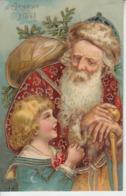 JOYEUX NOËL - Père Noël & Enfant ( Gaufrée Embossed ) - Noël