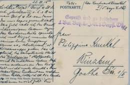 1915 , WWI , T.P. CIRCULADA , FELDPOST - AMENONCOURT , GEPRÜFT UND ZU BEFÖRDERN / II BAT. BAY. - Cartas