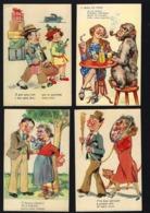 Conjunto De 4 Postais COMICOS Portugueses SEXISMO. Edição LIT.VALERIO / RF Lisboa. Set Of 4 Vintage Postcards PORTUGAL - Portugal