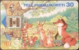 Telefonkarte Finnland - Comic - Fuchs - Hase - Eichhörnchen - Specht  - Aufl. 160000 - 03.94 - Finnland