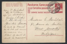 8sh.Postcard. Post 1918 Geneva (Switzerland) Brussels (Belgium) - Storia Postale