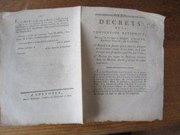 DECRETS DE LA CONVENTION NATIONALE DES 24e & 26e JOURS DE BRUMAIRE AN SECOND CLERMONT -OISE MOUY & LIANCOURT UNITE-DE-L' - Decrees & Laws