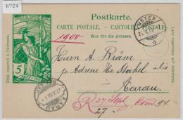 1900 UPU Postkarte - Uster 26.IX.00 Rasierklingenstempel Aarau - Entiers Postaux