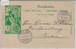 1900 UPU Postkarte - Laufenburg 17.XI.00 Rasierklingenstempel Aarau - Stamped Stationery