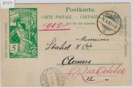 1900 UPU Postkarte - Vallorbe 11.X.00 Rasierklingenstempel Aarau - Entiers Postaux