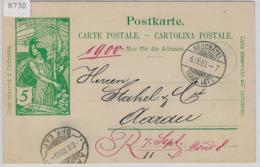 1900 UPU Postkarte - Neuchatel 6.IX.00 Rasierklingenstempel Aarau - Stamped Stationery