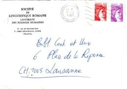 NANCY A France Lettre Entête Sté Linguistique Romane 1,40F Rouge 50c Violet Yv 1969 2102 Ob 1981 Dest Lausanne Suisse - Briefe U. Dokumente