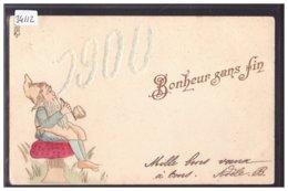 BONNE ANNEE - MILLESIME 1900 - LUTIN - CARTE EN RELIEF - PRÄGE - KARTE - TB - Neujahr