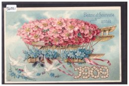 BONNE ANNEE - MILLESIME 1909 - CARTE EN RELIEF - PRÄGE KARTE - TB - Nouvel An