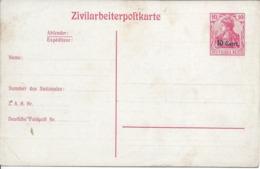 Entier Postal ZIVILARBEITERPOSTKARTE Surcharge 10cent Document Sali - Allemagne