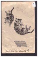CHATS HUMANISES - CARTE EN RELIEF - PRÄGE KARTE - B ( MINI PLI D'ANGLE ) - Animales Vestidos