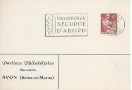 CAEN RP CALVADOS 26 4 1958 POUR ARRIVER SECURITE D'ABORD Sécurité Routière Automobile Feux De Signalisation Feu Rouge - Marcophilie (Lettres)