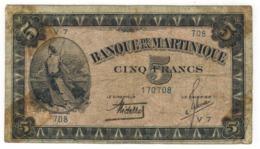 Martinique 5 Fr. VG/F. - Bankbiljetten